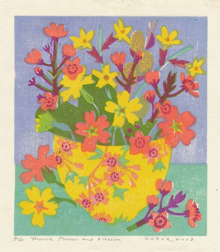 """""""March Flowers and Blossom"""" by Matthew Underwood (woodblock print)"""