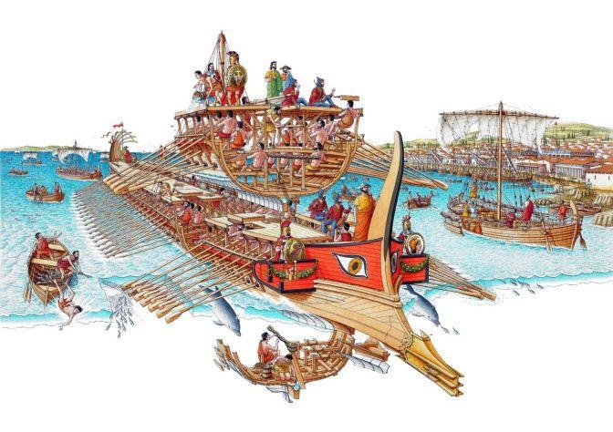 Batalha de salamina - Há anos que os reis persas pretendiam ganhar terreno na Europa. Em 490 a.C., a primeira tentativa fracassou na cidade de Maratona. Embora superiores, as tropas de invasão persas foram vencidas pela bem preparada infantaria grega, retirando-se em seguida. Ilustração de Stephen Biesby.