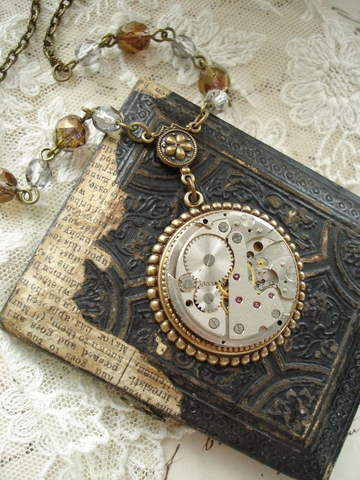 TIMELESS - Antique Pocket Watch Necklace. Steampunk Watch with 17 Ruby Jewels, Brass, Bronze, Silver. Salvaged Vintage Assemblage Jewelry