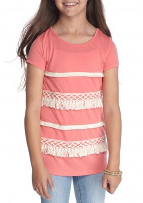 Red Camel Girls' Short Sleeve Top With Fringe Detail Girls 7-16 - Coral Shell - Xl