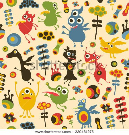 Colorful seamless pattern with happy monsters and flowers. #monsters #monsterillustration #vectorpattern #patterndesign #seamlesspattern