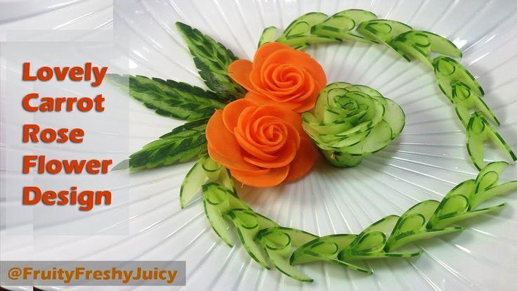 Belle concombre et la carotte Rose Flower Design - Fruit & Vegetable Carving & Garnir de coupe