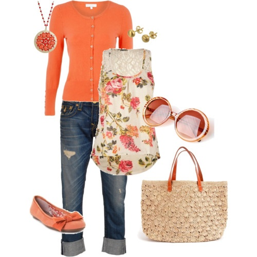 SPRING! Only like 4 more months until I can get away with this kind of outfit.Floral Tops, Fashion, Style, Closets, Clothing, Colors, Spring Orange, Spring Summe, Spring Outfits