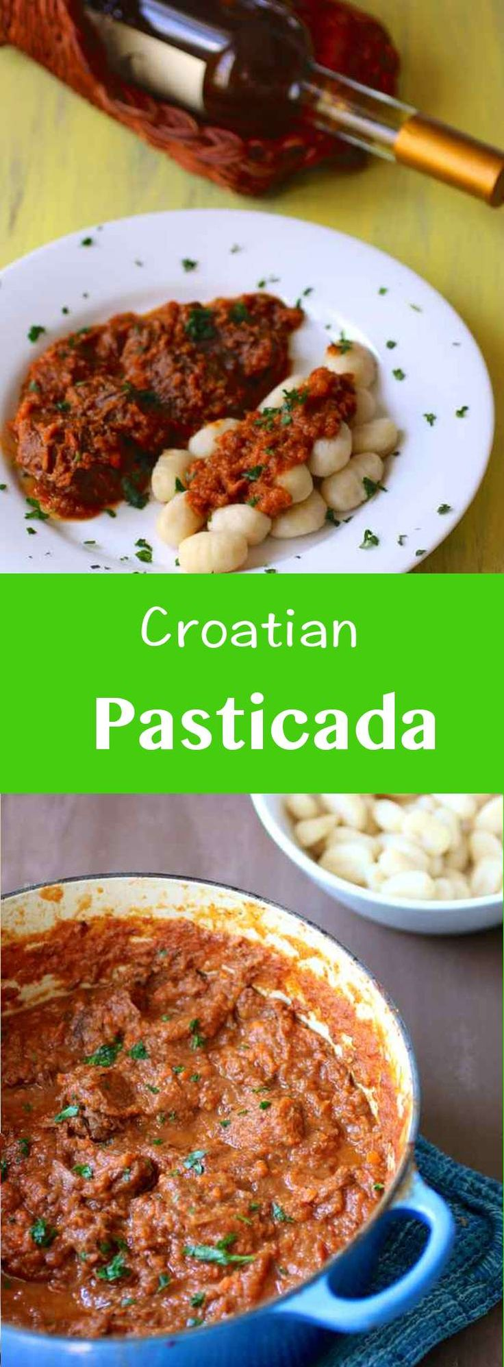 Traditional Dalmatian (Croatian) pašticada is slow-cooked beef prepared in a rich red sweet and sour sauce, usually served with gnocchi or homemade pasta. #196flavors