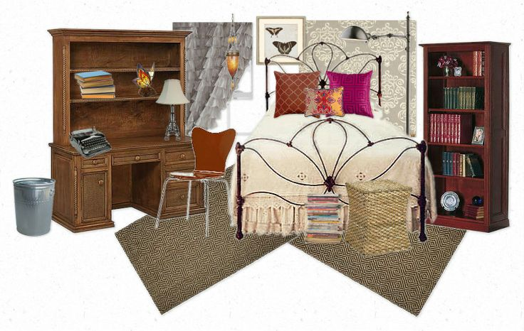 Lovely Undergrad: Aria's Room | Pretty Little Liars Decor ---- dark wood tones, neutral bedding, jewel tone accents