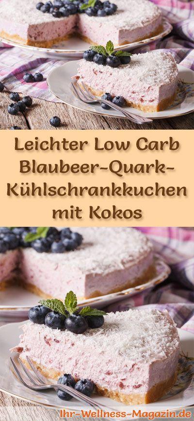 Rezept für einen leichten Low Carb Blaubeer-Quark-Kuchen mit Kokos: Der kohlenhydratarme Kühlschrankkuchen wird ohne Zucker und Getreidemehl zubereitet. Er ist kalorienreduziert, ... #lowcarb #Kuchen #backen