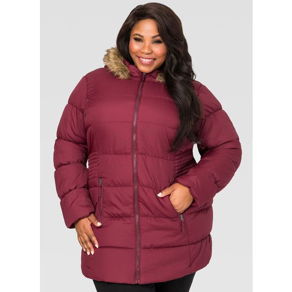 Ashley Stewart Stitched Side Puffer Winter Coat ($100) ❤ liked on Polyvore featuring outerwear, coats, puff coat, plus size puffer coat, long puffer coat, faux fur collar coat and red puffer coat