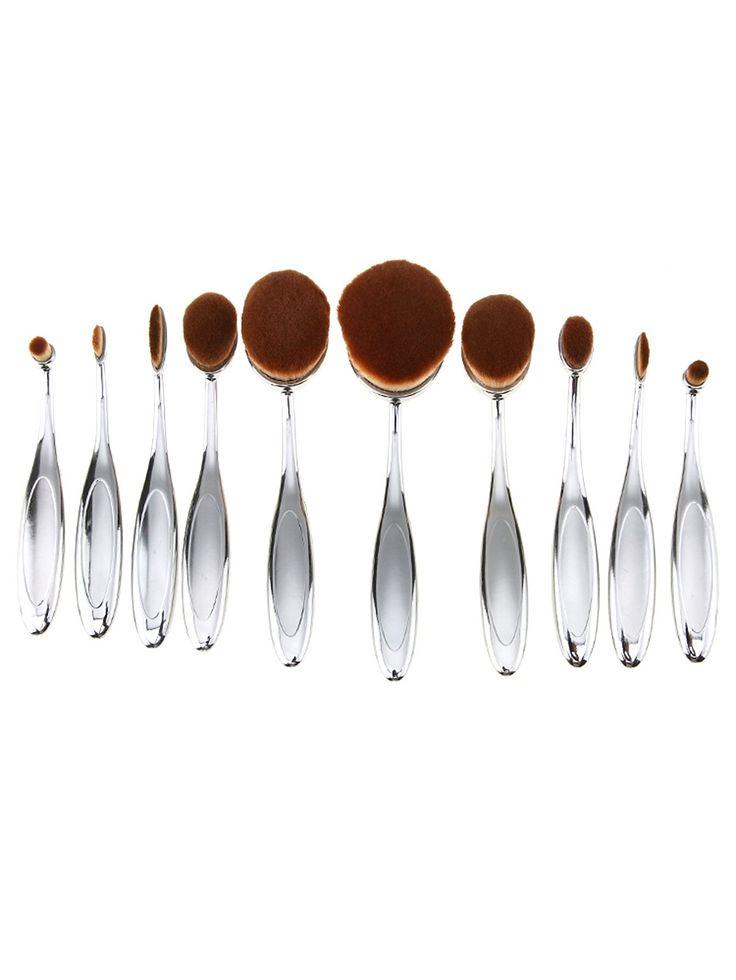 10PCS Silver Professional Toothbrush Makeup Brush Set