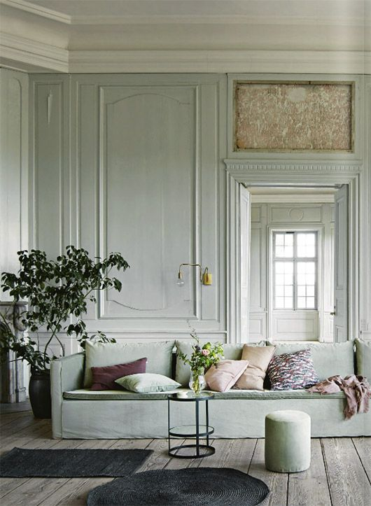 minted luxury | wood panelling | this mint sofa is just divine | Get inspired and nail the trend with an IKEA Karlstad sofa with a Bemz cover in Mineral Blue Chenille
