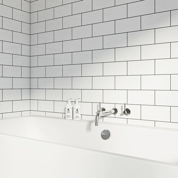British Ceramic Tile Metro Flat White Gloss Tile 100mm X 200mm White Bathroom Tiles Tile Bathroom Contemporary Tile