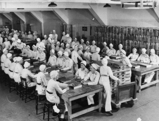 Women working at the munitions plant in Scarborough, Ontario during World War II. General Engineering Company  Archives of Ontario,c. 1942,Scarborough, Ontario, CANADA
