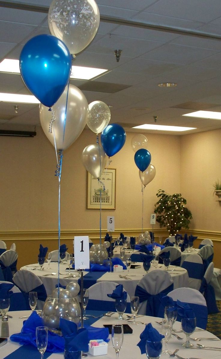 Party People Celebration Company - Custom Balloon decor and Fabric Designs: Royal Blue and Silver Wedding