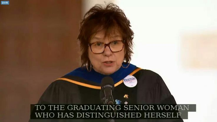 With Bill and Hillary Clinton in the audience at LMU's graduation ceremony today ahead of the former president's commencement address, LMU Professor Theresia de Vroom took the podium wearing a Bernie 2016 pin. (Photo via LMU)