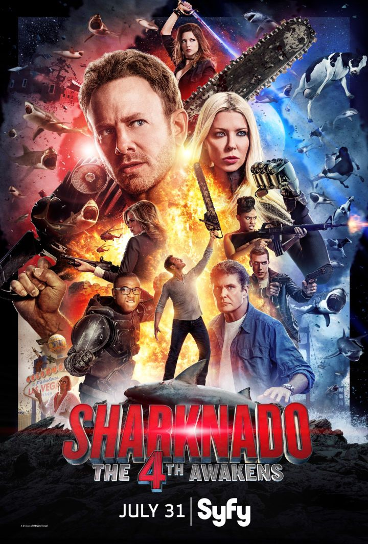 See Sharknado: The 4th Awakens' Star Wars-Inspired Poster  Syfy has revealed the official movie poster for Sharknado: The 4th Awakens and as you can guess from the title it's pretty heavily Star Wars themed.  The fourth film in the Sharknado series will premiere on Syfy on July 31 at 8pm ET/PT.   Sharknado: The 4th Awakens movie poster  Continue reading  https://www.youtube.com/user/ScottDogGaming @scottdoggaming