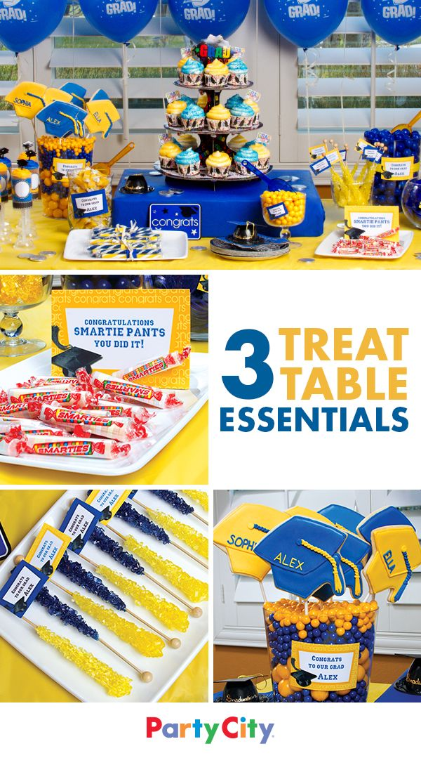 Say you did it! with a celebratory buffet of cupcakes, cookies and candy in their school colors. Show off their smarts with Smarties™, tell 'em how much they rock with rock candy and cap it off with a cookie. Get more indulgent ideas for your superstar grad at Party City.
