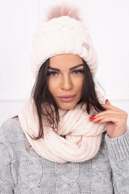 0fa5222ea Dámsky set s čiapkou a šálom púdrovo-ružová | Čiapky a šály ...