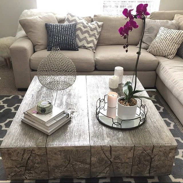 Coffee table envy: our Timber Coffee Table is cast from reclaimed oak beams and gets its silver luster from hand-applied silver leaf. Photo via @marykro. Click to shop Timber.