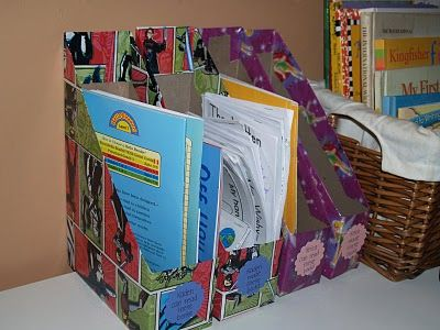 Box/magazine boxes made from old cereal boxes! What a cute and practical idea! You can easily add scrapbooking paper to make the super cute!