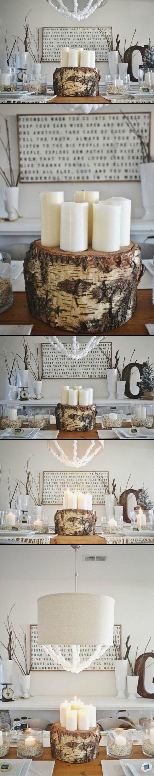 DIY Tree Stump Centerpiece-Candle Holder
