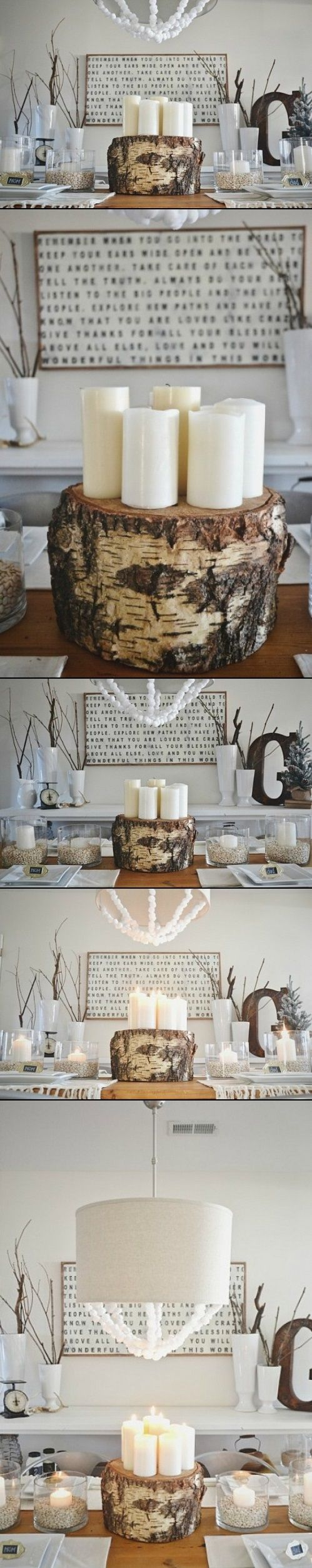 17 best ideas about tree stump centerpiece on pinterest for Picture frame candle centerpiece