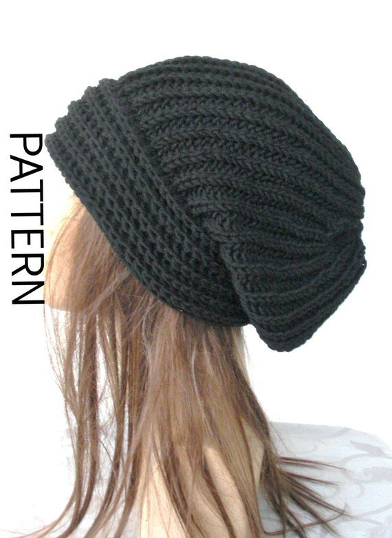 Slouchy Hat Knitting Pattern Digital Instant Download Knit hat pattern-  Digital Hat Knitting PATTER d48aeef177e