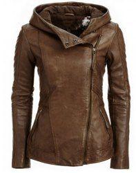 Hooded Long Sleeve Solid Color PU Jacket For Women (BROWN,L)   Sammydress.com Mobile
