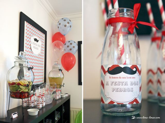 drink station for this moustache/man themed party