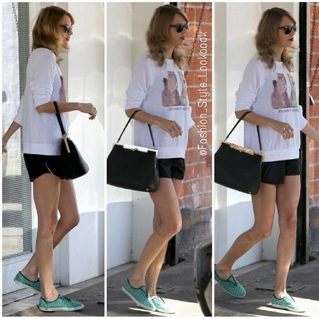 #taylorswift #shorts #baby #love #jumper #shorts #bag #clutch #omg #grammys #nominated #oscar #harrystyles #zaynmalik #onedirection #keds #shoes #gym #ballet #fit #cool #fashion #style... - Celebrity Fashion