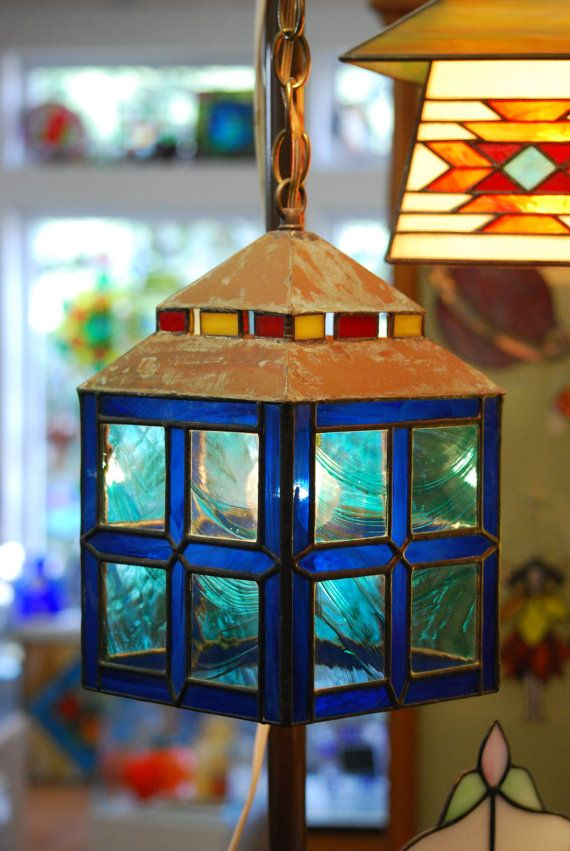 Modern Traditional Stained Glass Lantern by DodgeGlassStudio, $250.00