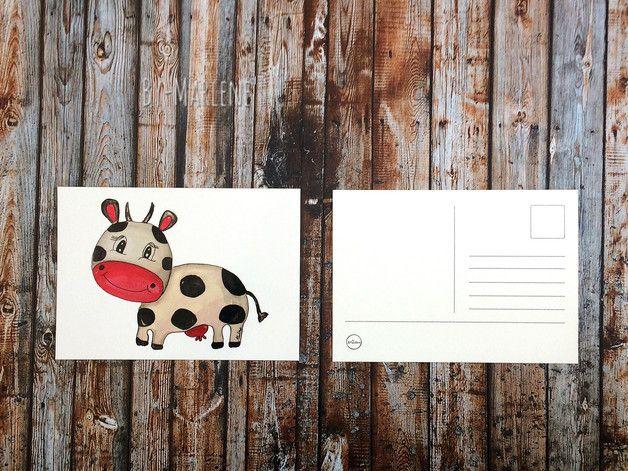 Postkarte von meinem Aquatell Kuh, das passende Poster
