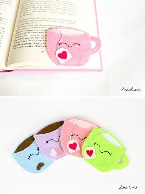 Felt corner bookmarks by Lanatema. Cup of tea, pikachu, cat, cup of cooffe, cupcake, rabbit... choose your favorite!!