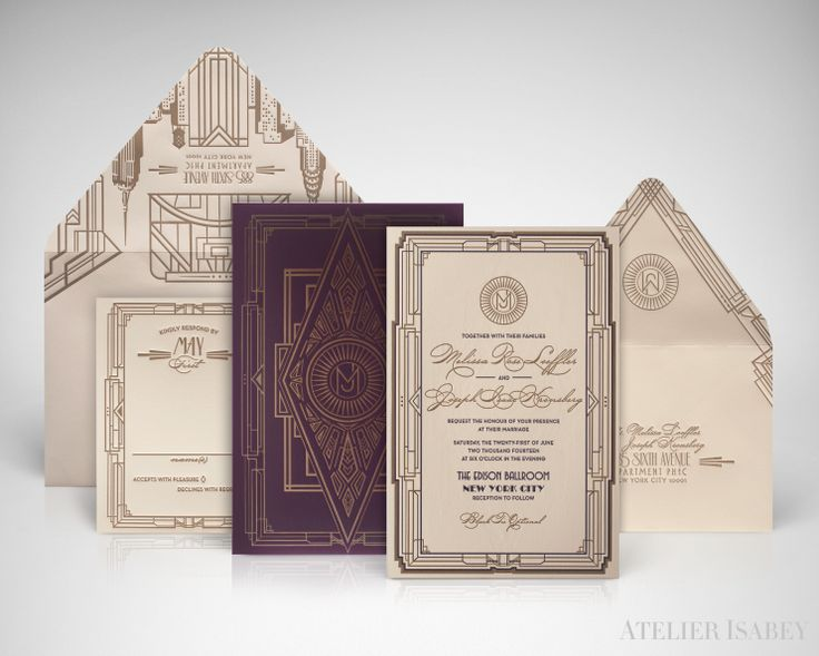 1930s Art Deco Wedding Invitation Suite With Purple And Gold Letterpress  Printing For A Wedding In