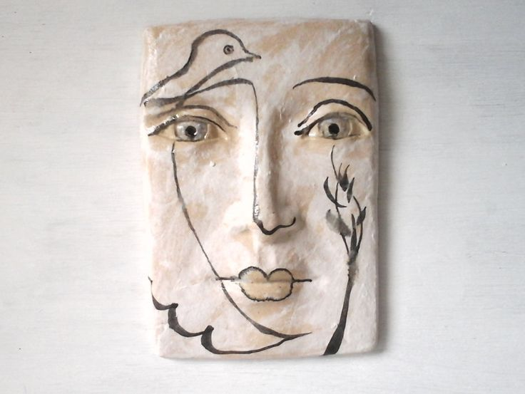Black and white tile face sculpture, ceramic wall art, Parisian wall mask, Picasso neo-classical style, art lover gift, 8 x 5 inches by LouiseFultonStudio on Etsy US$66