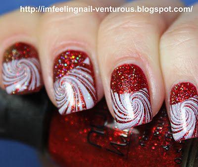 peppermint holiday mani - China Glaze Ruby Pumps + Nubar Fire Sparkle + RA-110