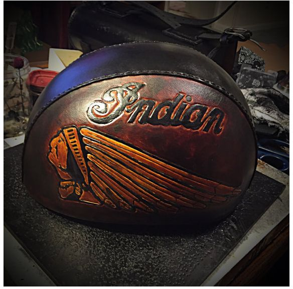 Leather Covered Indian Motorcycle Helmet