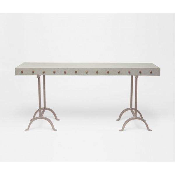 Made Goods, Peter Metal And Concrete Outdoor Console Table, Outdoor Tables, Light Gray, Metal And Concrete