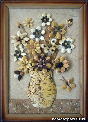 настенное панно из семян тыквы
