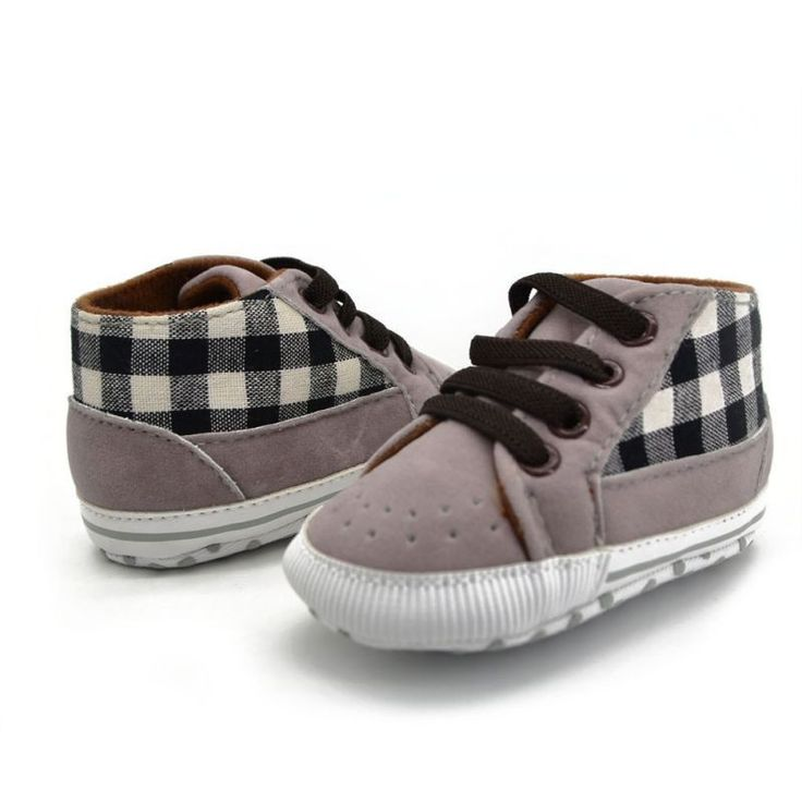 These soft plaid sneakers look adorable on all babies! The fashionable plaid design and elastic shoe strings will keep your little one in tip-top fashion, while the skid marks will help new walkers fr