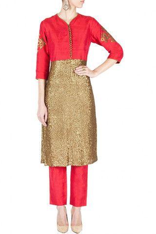 Dark pink color designer trouser suit – Panache Haute Couture