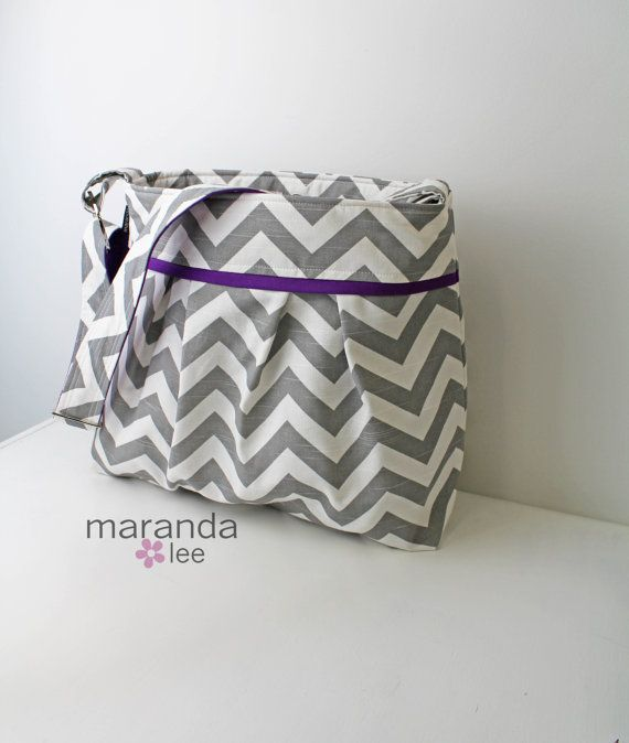 Baby Gear - Stella XL Chevron Diaper bag  Grey Chevron with by marandalee,
