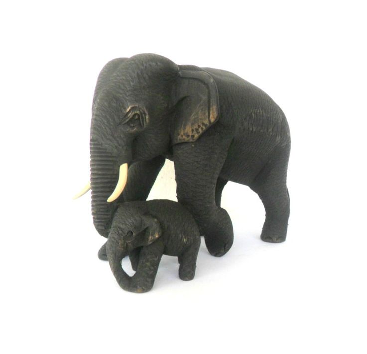 Hand Carved Elephant With Baby Wood Carving Elephant