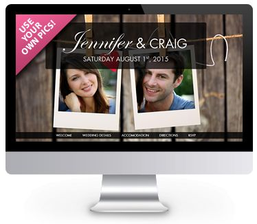 'Rustic' theme wedding website by ourbigdayinfo.com. Create your free trial with this wedding website. Add your own pics!