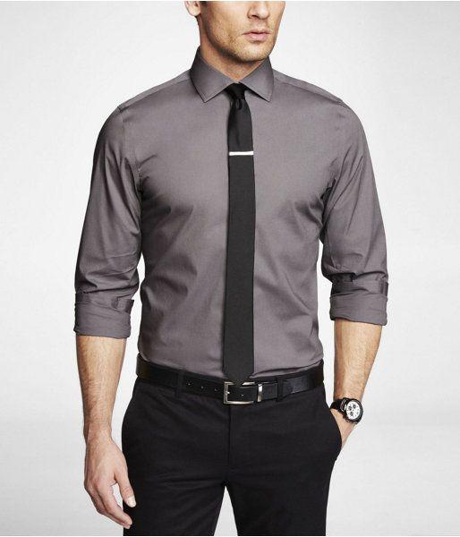 Express Mens Modern Fit 1Mx Spread Collar Shirt Steel Gray, Xx Large