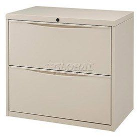 """30"""" Premium Lateral File Cabinet 2 Drawer Putty by Global Industrial. $209.95. PREMIUM LATERAL FILE 2 Drawer Cabinet Premium lateral file cabinets keep paperwork organized. Made using durable steel with a chip and scratch resistant powder coat finish. Drawers feature ball bearing slides for full drawer extension that allows complete access to documents. Drawers include depth adjustable hang rails and front-to-back bars. Each drawer has a 90 lb. weight capacity. Depth adjustab..."""