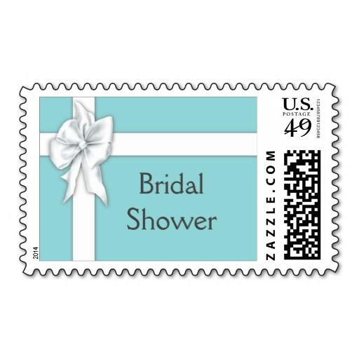 Wedding Gift Card Text : Blue Gift Box Bridal Shower Stamps. It is really great to make each ...