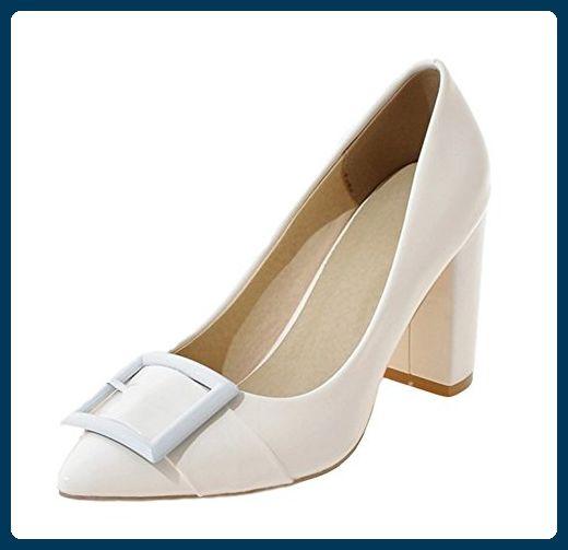 Aisun Damen Fashionable Einfarbig Riemen Lackleder Pointed Toe Pumps Weiß 43 EU - Damen pumps (*Partner-Link)
