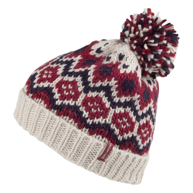 Billabong Hats Cold Mountain Bobble Hat - Cream-Red