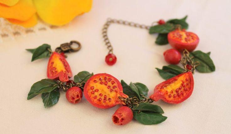 Jewelry Bracelet / Pomegranate / Handmade / Polymer clay #Handmade #Chain