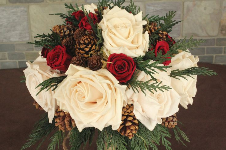 Winter Wedding Bouquet, Rustic Wedding, Holiday Wedding, Woodland Wedding, Woodland Bouquet, Porcelain Rose Burgundy Rose 145. $195.00, via Etsy.