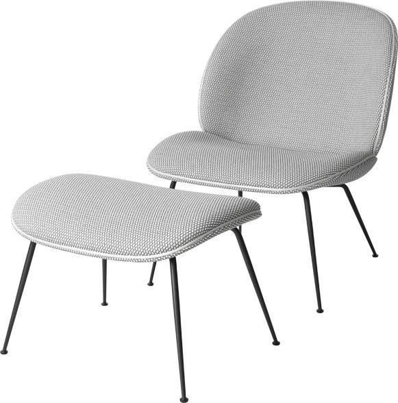 Gubi Beetle Lounge Chair Fully Upholstered Frame Conic Black
